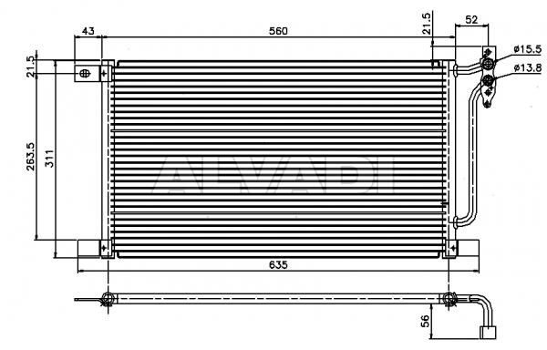 AC condenser OEM/OES (Behr-Hella) 64538377648 for BMW X3 (E83)